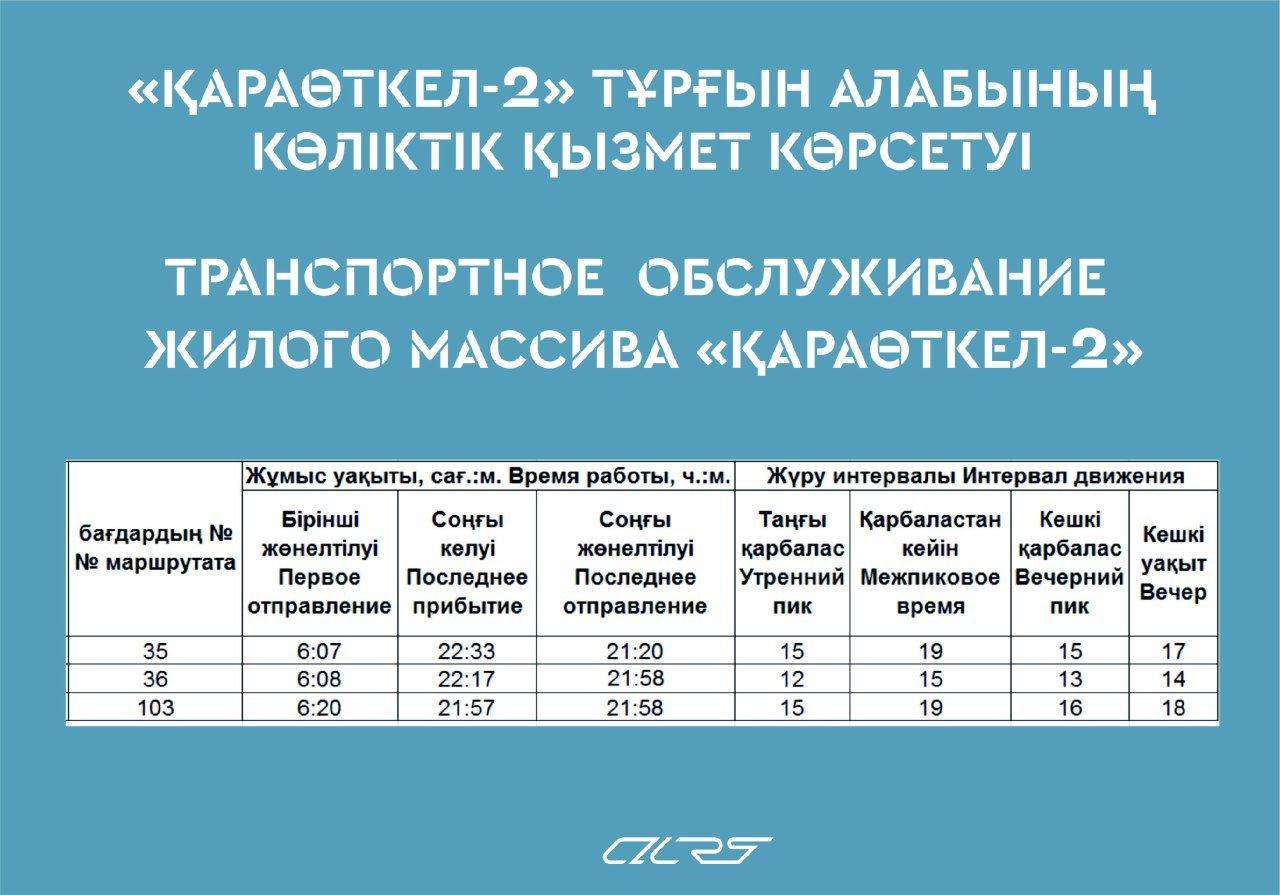 Плановое расписание маршрутов для жителей массива «Қараөткел 2» опубликовала Астана LRT, фото-1