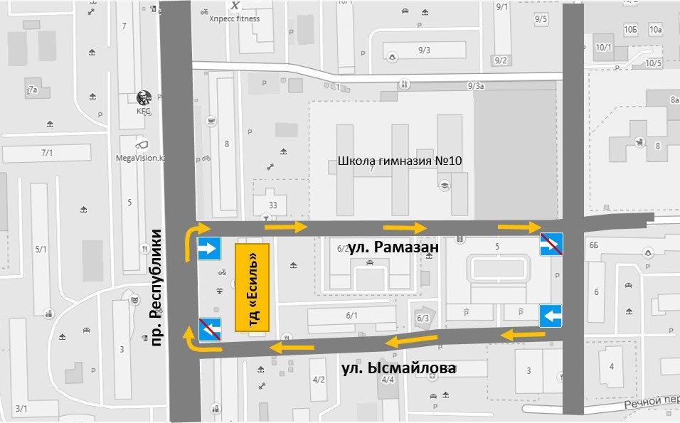 Схема движение на улицах - Акимат Нур-Султана